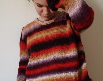 Loose sweater, Women's sweater, Handknit jumper,  Loose knit sweater, Hand Knit Sweater, Long Sleeves, Colored sweater