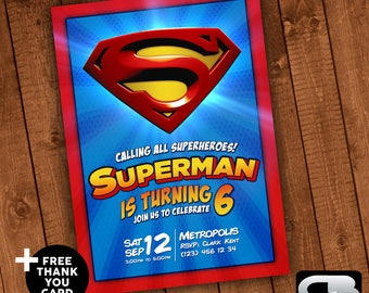 Superman Invitation - Superman Invite - Superman Birthday Invitation - Superman Birthday Party - Superman Digital File Download