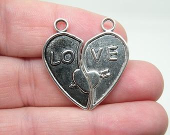 "14 Pieces (7 Sets) ""love"" Broken Heart Antique Silver Tone Charms. B-003"