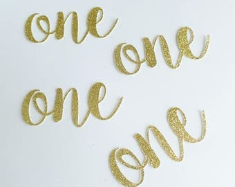 "Number One Birthday Confetti - Custom age number confetti - Glitter Gold - 3"" size - 1st Birthday Invitation DIY - Fancy - Cursive - Sparkly"