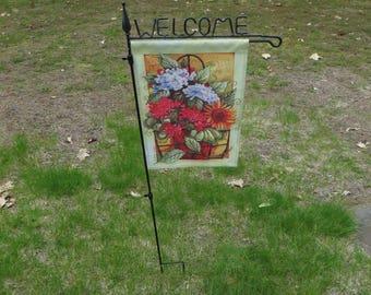 Vintage Welcome Garden Flag Banner Stake Iron U0026 Thumb Screws W/ Free Ship