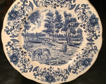 Pyrobland made in France - french blue porcelain plate! RARE!!!!!!