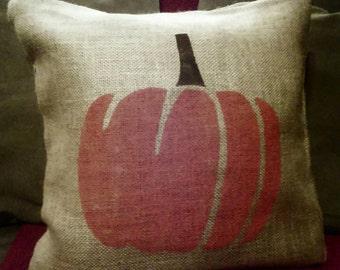 Burlap Pumpkin Pillow, Pumpkin Pillow, Fall pillow, Thanksgiving Pillow, Autumn, Primitive Country Decor, Country Pillow, Burlap Home Decor