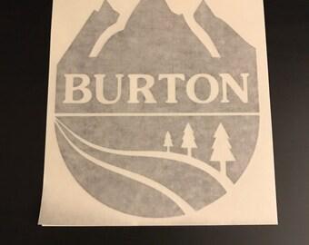 Burton Snowboards Sticker Mountain Round Logo 6x7 Vinyl Snowboarding Skate Diecut