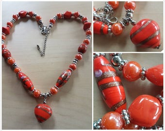 chunky glass necklace with hand painted beads - burnt orange - glass bead necklace - orange necklace