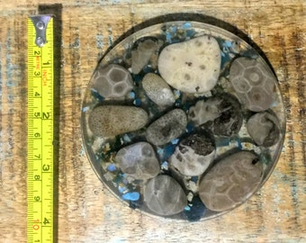CoastePetoskey and Leland Blue Coaster / Michigan Beach Stone Coasters / Petoskey Stone, Slag stone / Housewarming Gift