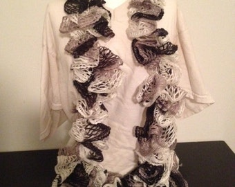 "70"" Black, White, Grey Ruffle / Sashay Scarf"