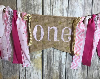 First Birthday Banner Girl, High Chair Birthday Banner Girl, Pink Gold Birthday Banner, Pink Gold First Birthday