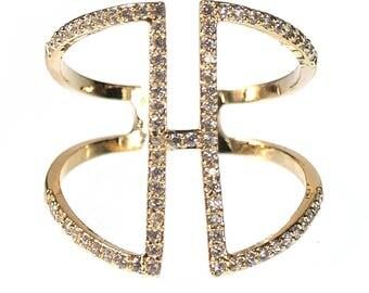 TCFF Women's H Shape Cuff Ring