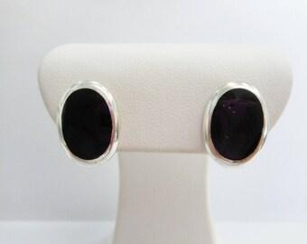 Sterling Studs, Black Enamel Studs, Sterling Earrings, Enamel Earrings, Sterling Silver, Southwestern, Black Enamel Post Stud Earrings #1011
