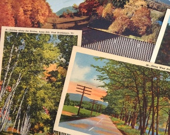 Set of 5 Vintage 1950's Vermont State Linen and Real Photo Postcards