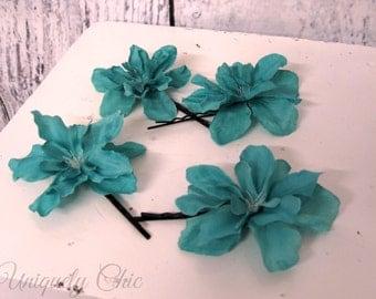 Silk flower hair pin, Bridesmaid hair pins, Turquoise wedding hair accessories, flower girl hair pin, prom hair, wedding accessories