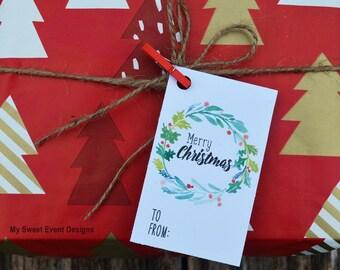 Christmas Wreath Gift Tags, Printable Christmas Tags, Merry Christmas Tags, Christmas Favor Tags, Instant Download, Merry Christmas Wreath