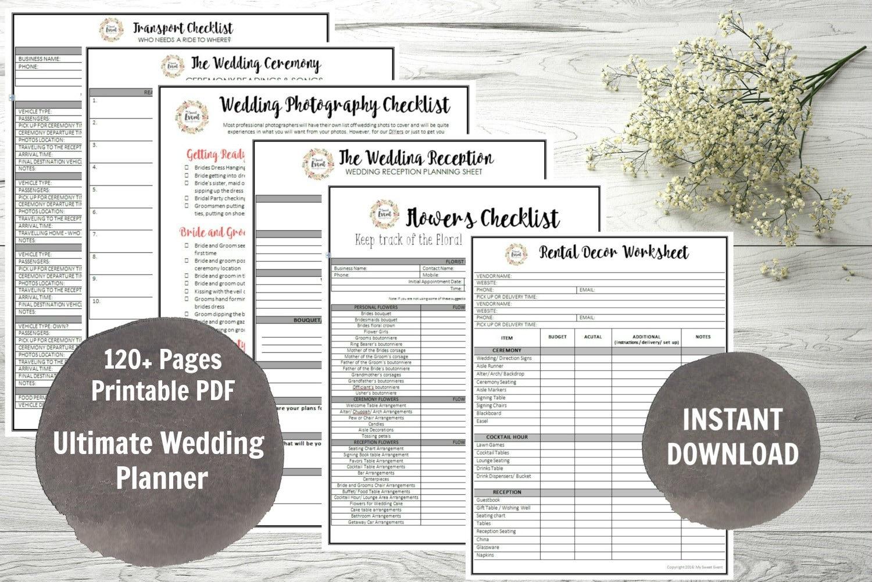 Printable Wedding Planner Binder Planning A Rustic: Wedding Planner Printable Wedding Binder DIY Planning