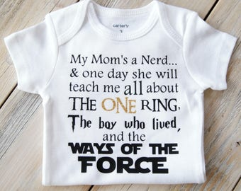 My Mom A Nerd-My Dad's A Nerd-Onesie-Boy's & Girls Clothing-Jedi-Lord of the Ring-Harry Potter - Funny Baby Onesie - Custom Onesie -Parents