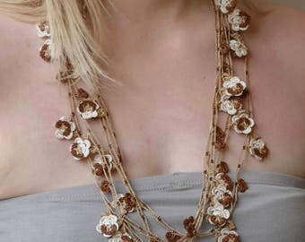 Oya necklace, Turkish lace crochet - length 3 m or 118 inch