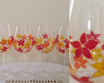 Flower print hand painted wine glasses - set of 6