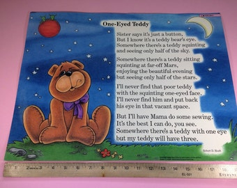 Vintage Educational Poem School Poster 1980s One-Eyed Teddy by Robert D Hoeft Illustrator Karol Kaminski