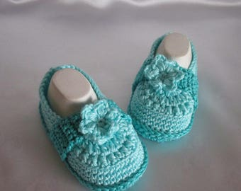 Baby shoes slippers selfmade cotton approx. 12 cm foot approx. gr. 18/19