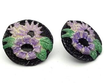 Black Flower Resin Round Stud Earrings Vintage from the 90s Purple Echinacea Summer