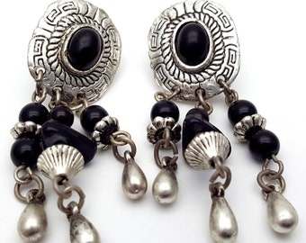 Aztec Silver tone lightweight metal Primitive Drop Earrings Vintage from the 90s with black beads detailed rope cord laces dangling charms