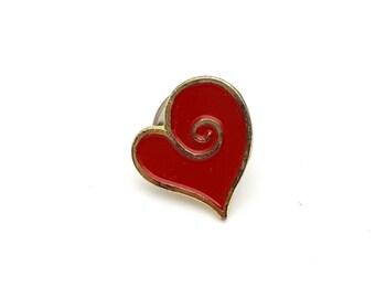 Miniature Heart Pin Gold tone metal Vintage Red enamel finish love valentines day anniversary gift tiny mini