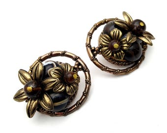 Clip On Black Brown and Gold Tone Plastic Marigold Flower Cluster Round Stud Earrings Vintage 80s Fashion Lightweight Statement Runway