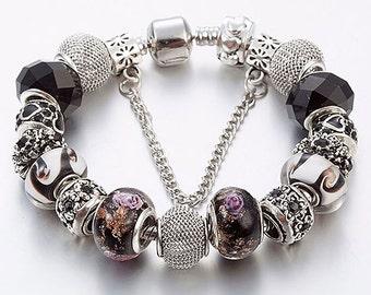 Black Charm Bracelet - Black Bracelet, Beaded Black Bracelet, Mothers Day Gift, Gift for Mom, Womens Charm Bracelet