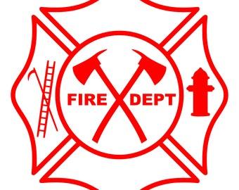Maltese Cross Fire Dept Logo w/Hook, Ladder, Hydrant, Pulaski – SVG Cut File (mtc, svg, pdf, eps, ai, dxf, png & jpg) ~ DIGIDOWN052