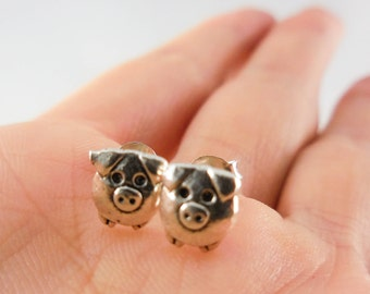 925 Sterling Silver Pig Stud Earrings, Pig Stud, Pig Earrings, Pig Jewelry, Farm Animal Stud, Farm Animal Jewelry, Farm Animal Earrings