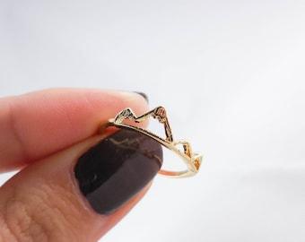 18k Yellow Gold Mountain Adjustable Ring, Adjustable Ring, Mountain Ring, Mountain Peak Ring, Geometric Ring, Rock Climbing Ring, Boho Ring