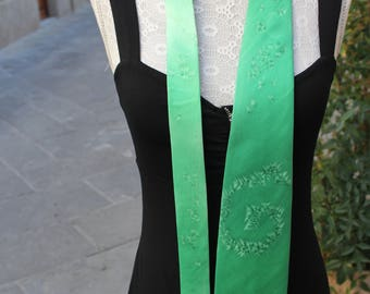 Silk tie, Tie for men, Green tie, Artsy tie, Fun tie, Hand painted tie, Twill Silk tie, Made in Italy tie, Hand made tie, Unisex tie.