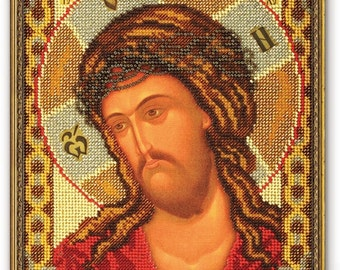 Bead Embroidery Kit DIY Icon Christ in The Crown of Thorns Canvas Glass Beads Guide Beginners