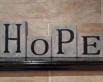 Wood Blocks Home Decor - HOPE
