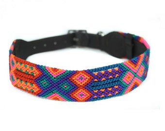 Poppy Dog Collar - Pink/Orange/Blue