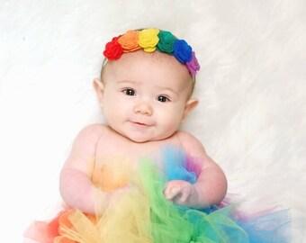 Rainbow felt flower headband / rainbow baby headband / felt rosettes / rainbow baby crown / baby shower gift / newborn headband