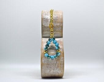 Facet Rondelle Gemstone, Gemstone Necklace, Beaded Necklace, Gold Plated Necklace, Gold