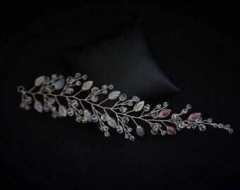 Light Pink Hair Vine, Pink Bridal Hair Vine, Pink Wedding Hair Vine, Pink Crystal Headpiece
