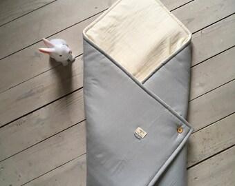 Baby nest, baby blanket in organic cotton fabrics, blanket, birth to 6 months / Baby birth gift, baby shower, handmade in France