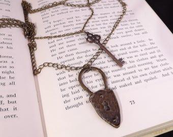 Long key necklace, multi strand key necklace, key and lock pendants, layering necklace, skeleton key necklace, long chain lock key