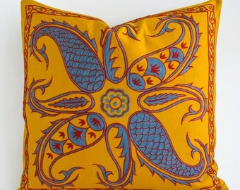SALE Silk Suzani Pillow Cover Blue Yellow Red Hand Embroidered Vintage Pillow Decorative Pillows For Couch Throw Pillow Accent Pillow