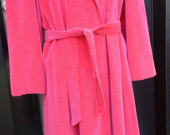 Sassy, Vibrant Raspberry Pink Electre Paris Corduroy Coat 1970s-1980s era