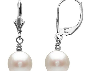14k Gold 8.0-8.5mm Round White Freshwater Cultured Pearl Leverback Drop Earring Perfect for Bridal and Wedding