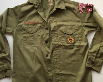 Vintage Boy Scouts of America gabardine shirt vintage 70's olive green shirt small AMAZING FADE