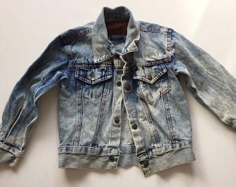 Vintage Acid washed denim Jacket 1980s stone washed Jean Jacket Youth size 5