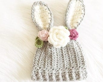 Crochet Bunny Hat//Pattern