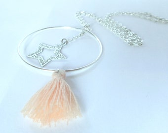 Ring with star and tassel necklace