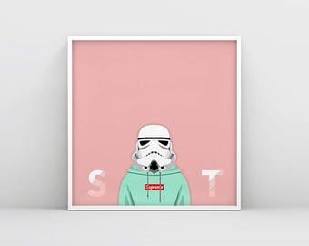 Stormtrooper Wall Art, Storm trooper Star Wars Poster, Cute Pastel Star Wars Print, Printable Stormtrooper, Star Wars Art, Nursery Print