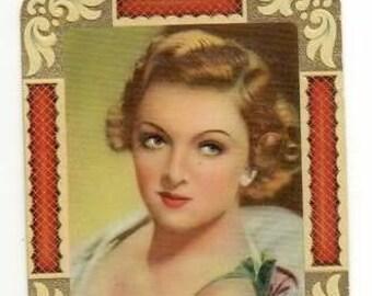 Vintage Myrna Loy 1934 Garbaty Film Star Series 2 Embossed Cigarette Card #300 RARE