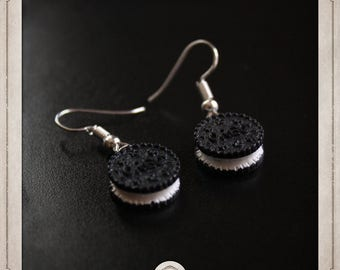OREO earrings silver cakes and resin MB013